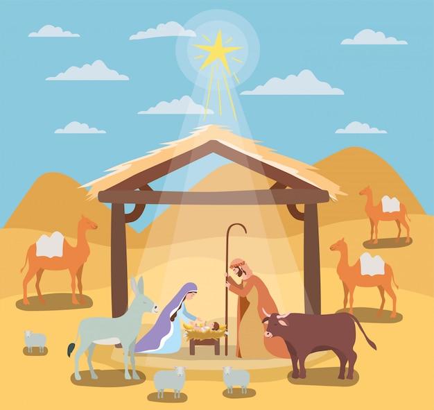 Святой иосиф и мария девы в вертепе