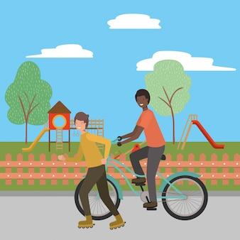 少年乗馬自転車