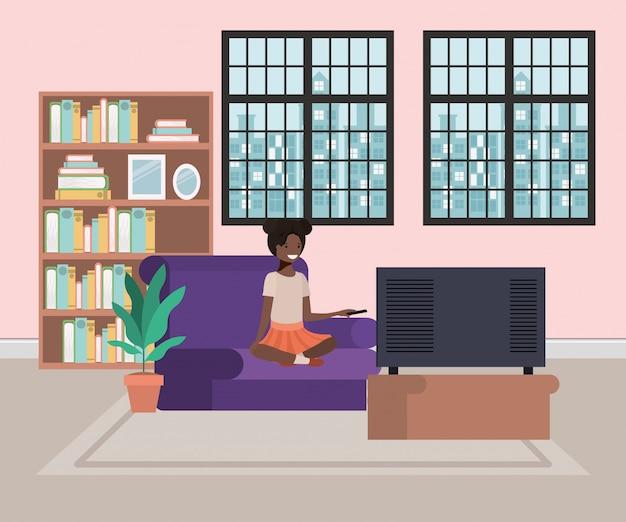 Мультфильм девушка в гостиной
