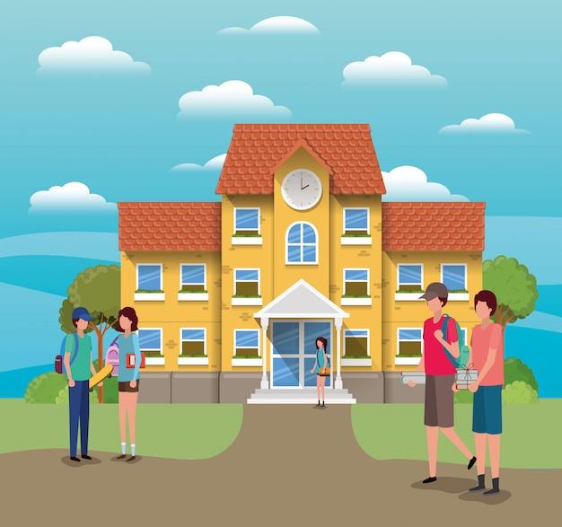 Здание школы и ученики, учебный урок, учебный класс и информация