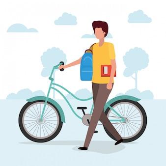 自転車、車両自転車サイクルライフスタイルスポーツと交通機関を持つ学生少年