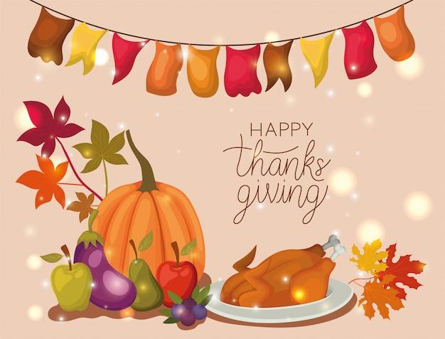 Счастливый день благодарения, осенний сезон праздничное приветствие и традиционные иллюстрации