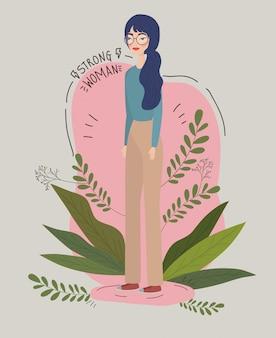 葉のアバター文字ベクトルイラストデザインと女性少女力図