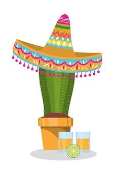 メキシカンハットとサボテンデザイン、メキシコ文化観光ランドマークラテンパーティーテーマベクトルイラスト