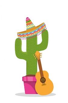 メキシカンハットギターとサボテンデザイン、メキシコ文化観光ランドマークラテンとパーティーテーマベクトルイラスト