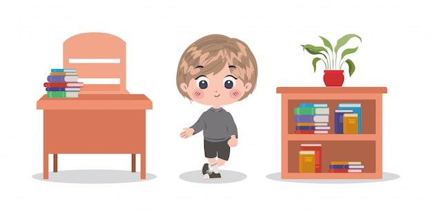 Школьник мультфильм вектор дизайн