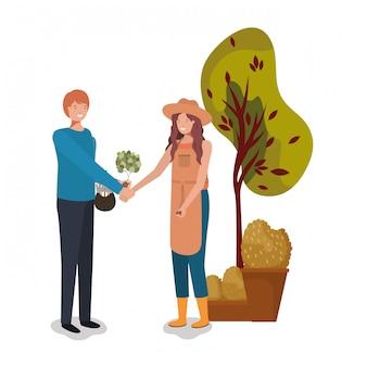 Женщина мужчина и садоводство концепции