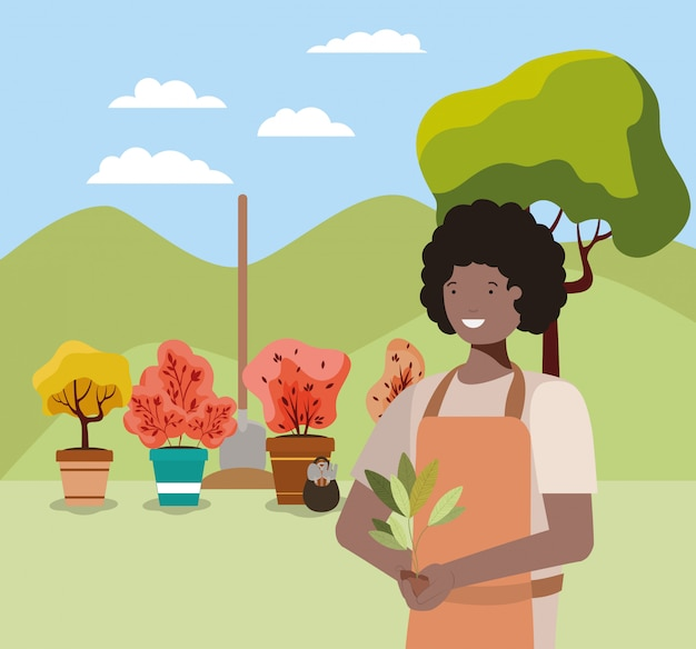 Аватар женщина и концепция садоводства