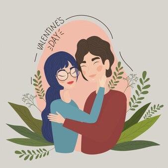 女と男の図面、関係バレンタインデーロマンス休日と一緒にイラストのカップル