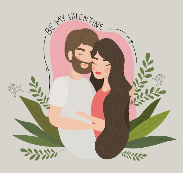Пара женщина и мужчина рисунок, отношения день святого валентина романтика праздника и вместе иллюстрации