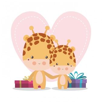 Милый жираф мультфильм мама и малыш