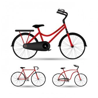 ブラックバイクセットデザイン、車両自転車サイクル健康的なライフスタイルスポーツとレジャーのテーマと赤