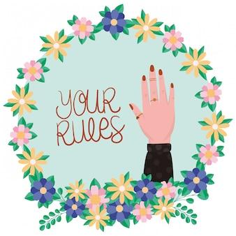 Рука внутри цветов и листьев короны женщин полномочия вектора