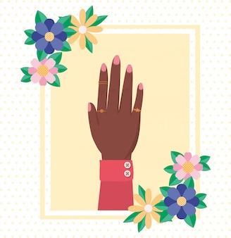 花と女性のエンパワーメントベクトルの葉を持つ手
