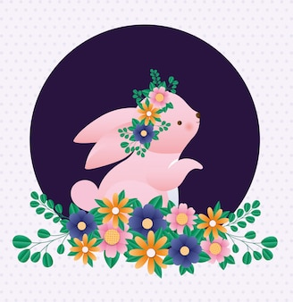 先の尖った背景ベクトル上の花と幸せなイースターのウサギ