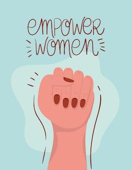 Рука кулак расширения прав и возможностей женщин. женская сила феминистская концепция иллюстрации