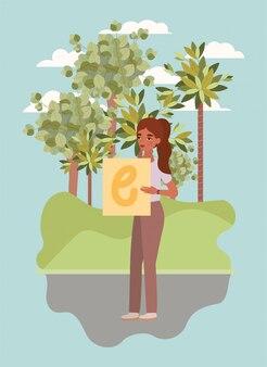 Женщина с транспарантом и деревьями дизайн женского расширения прав и возможностей женской власти феминистские люди гендерный феминизм молодежный протест и сильная тема