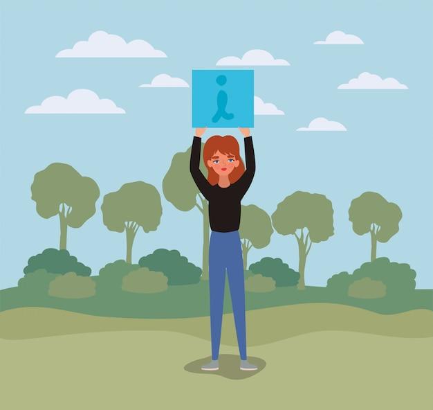 Женщина с транспарантами деревьев и облаков дизайн женщины расширение прав и возможностей женской власти феминистские люди гендерный феминизм молодые права протест и сильная тема