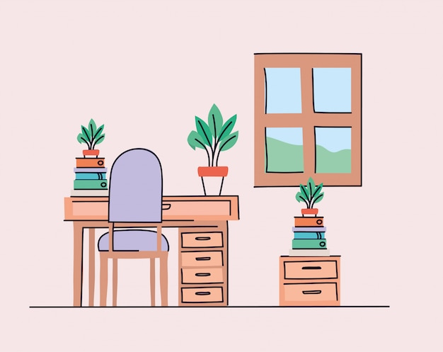 机と椅子のある学習室