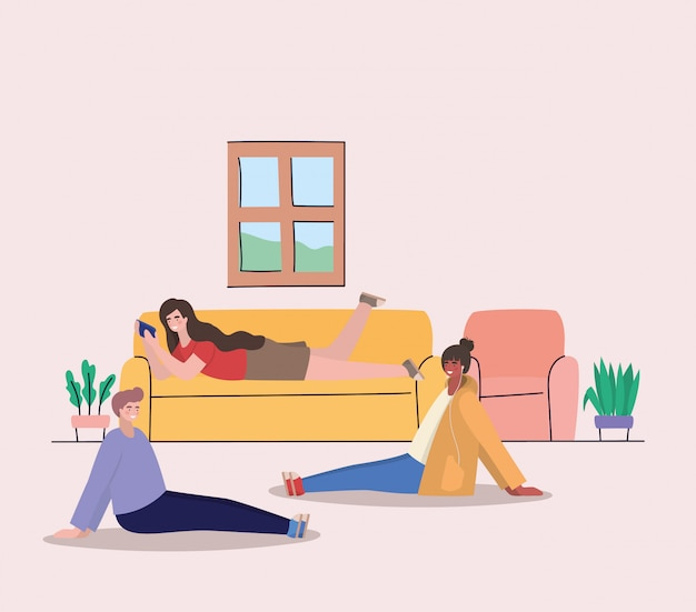 女の子と男の子の自宅でスマートフォン