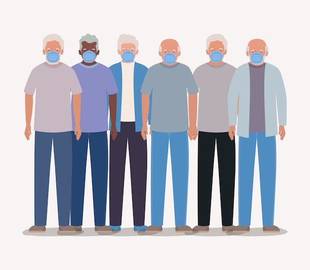 Старейшины мужчины с масками дизайн медицинская гигиена гигиена неотложная медицинская помощь экзамен клиника и пациента тема иллюстрации