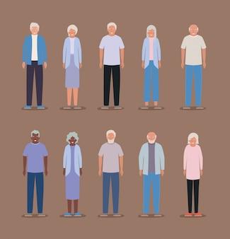Изолированные бабушки и дедушки дизайн