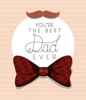 今までで最高のお父さんの口ひげと市松模様のボウタイデザイン
