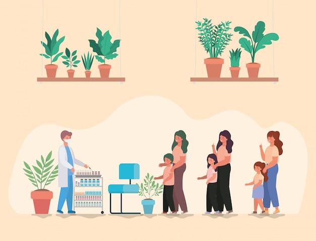 Мужской доктор вакцинации детей и матерей дизайн медицинской помощи здравоохранения и иллюстрации темы чрезвычайных ситуаций