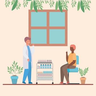 Мужской доктор вакцинирует человека дизайн медицинской помощи здравоохранения и иллюстрации темы чрезвычайных ситуаций