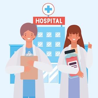 Женский и мужской доктор перед больницей