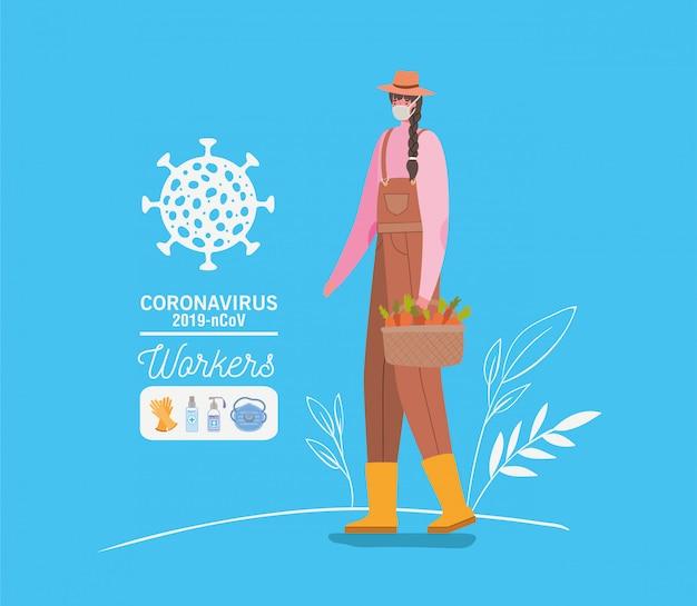 医療マスクとエプロンと農家の女性アバター