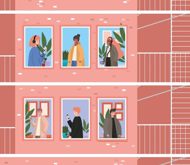 Люди с смартфоном на окнах розового здания с лестницей побега, иллюстрации темы архитектуры и карантина