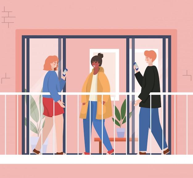 Люди с смартфоном на балконе окна розового здания, иллюстрации темы архитектуры и карантина