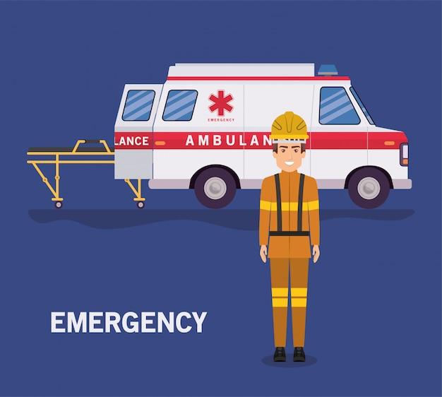 救急車の担架と消防士のデザイン