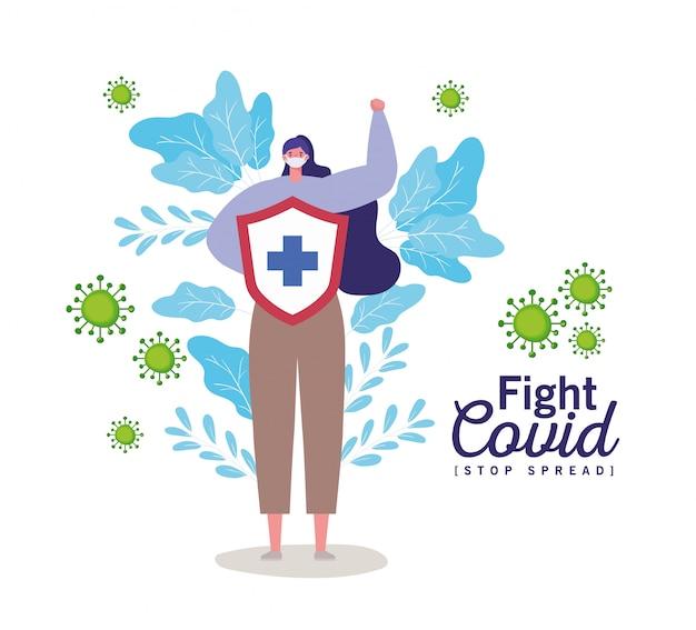 マスクと盾を持つ女性とクロスファイトウイルス
