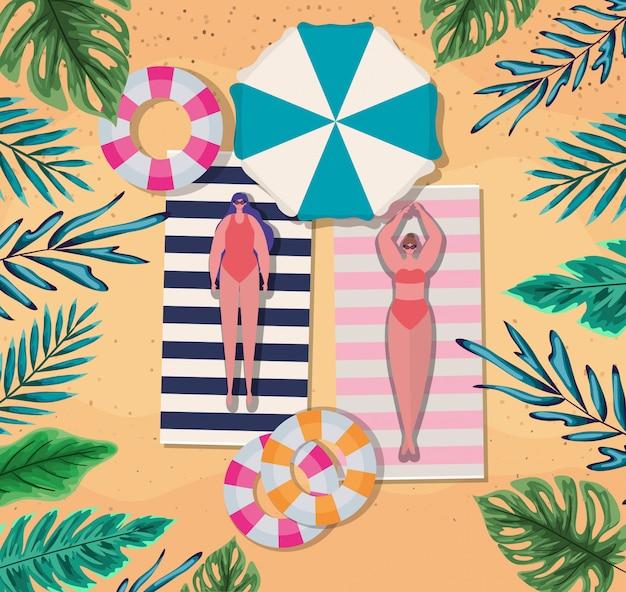 Мультфильмы для девочек на полотенцах с поплавками на пляже, вид сверху, летние каникулы