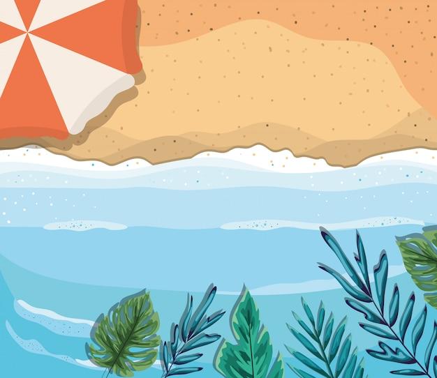 Пляж с зонтиком и листьями дизайн вектор вид сверху
