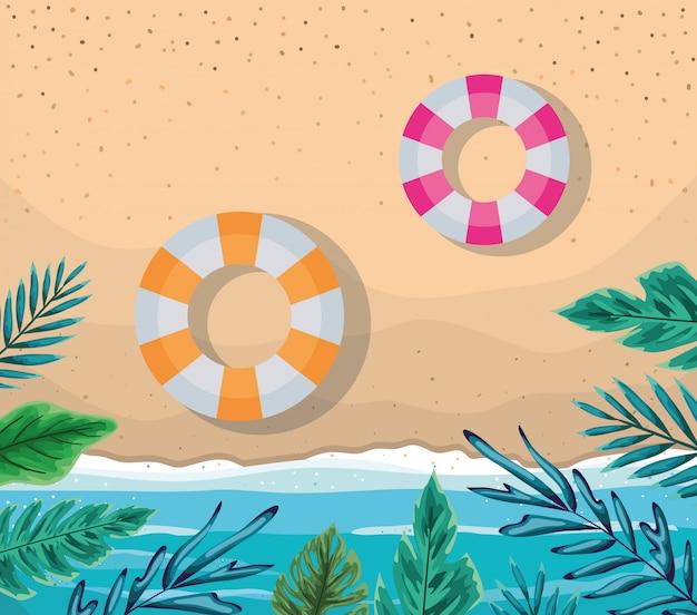 Пляж с листьями и поплавками дизайн вектор вид сверху