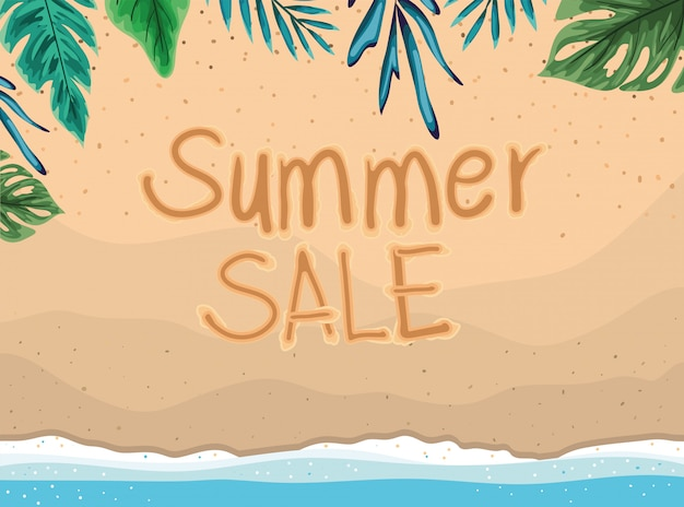 Пляж с летней распродажи и оставляет вид сверху вектор дизайн