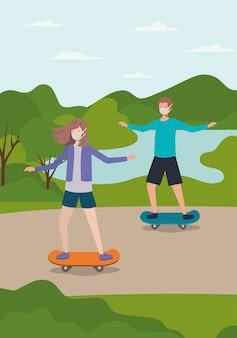 女の子と男の子のマスクとスケートボードで公園の設計