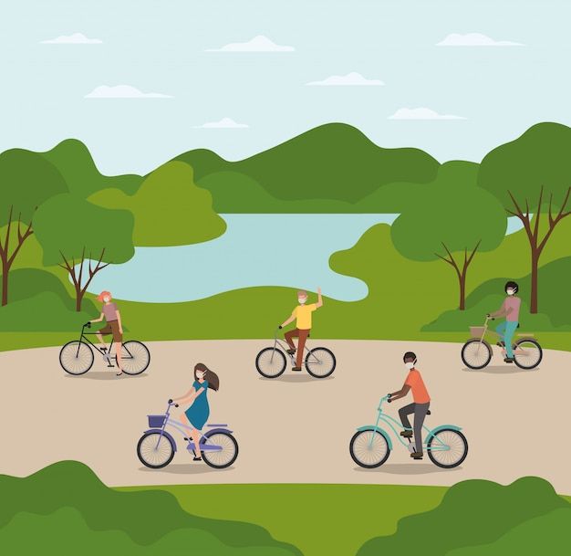 公園のデザインで自転車のマスクを持つ人々