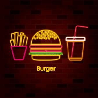 レンガの壁のネオンサインでフライドポテトハンバーガーとドリンク
