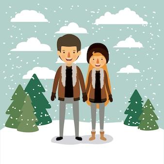 カップルで冬の人々の背景