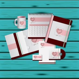 Стационарные шаблоны дизайна сердца для деловых канцелярских принадлежностей