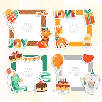漫画のアートスタイル。装飾的な誕生日テンプレートフレーム。子供の写真、面白い写真、カード、思い出に使用できるこのフォトフレーム。スクラップブックのデザインコンセプト。画像を挿入します。
