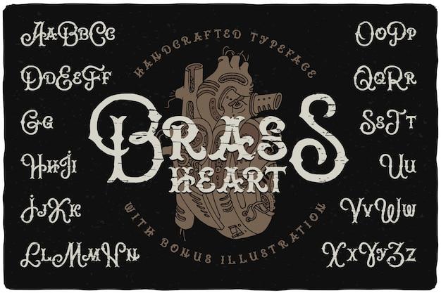 Набор шрифтов в стиле стимпанк с рисунком сердца