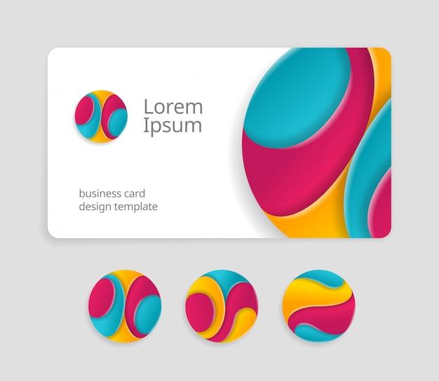 Шаблон дизайна визитной карточки с абстрактными закругленными знаками