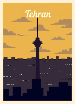 Ретро постер тегеран город небоскребов.