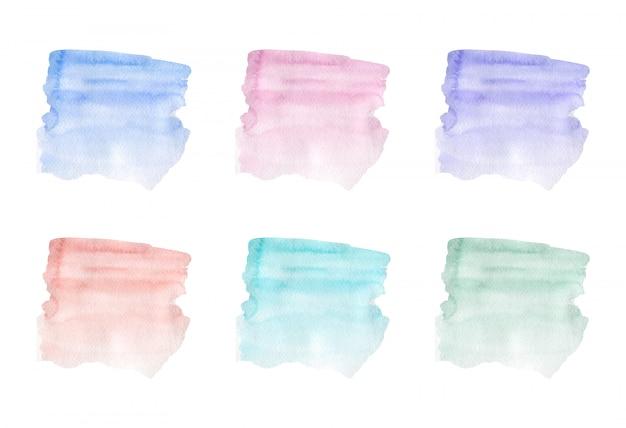 青、ピンク、紫、緑のブラシストローク水彩テクスチャ。ベクトルイラスト。