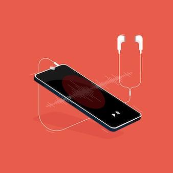 Музыка на мобильном изометрической концепции, мобильный телефон с гарнитурой, слушать музыку
